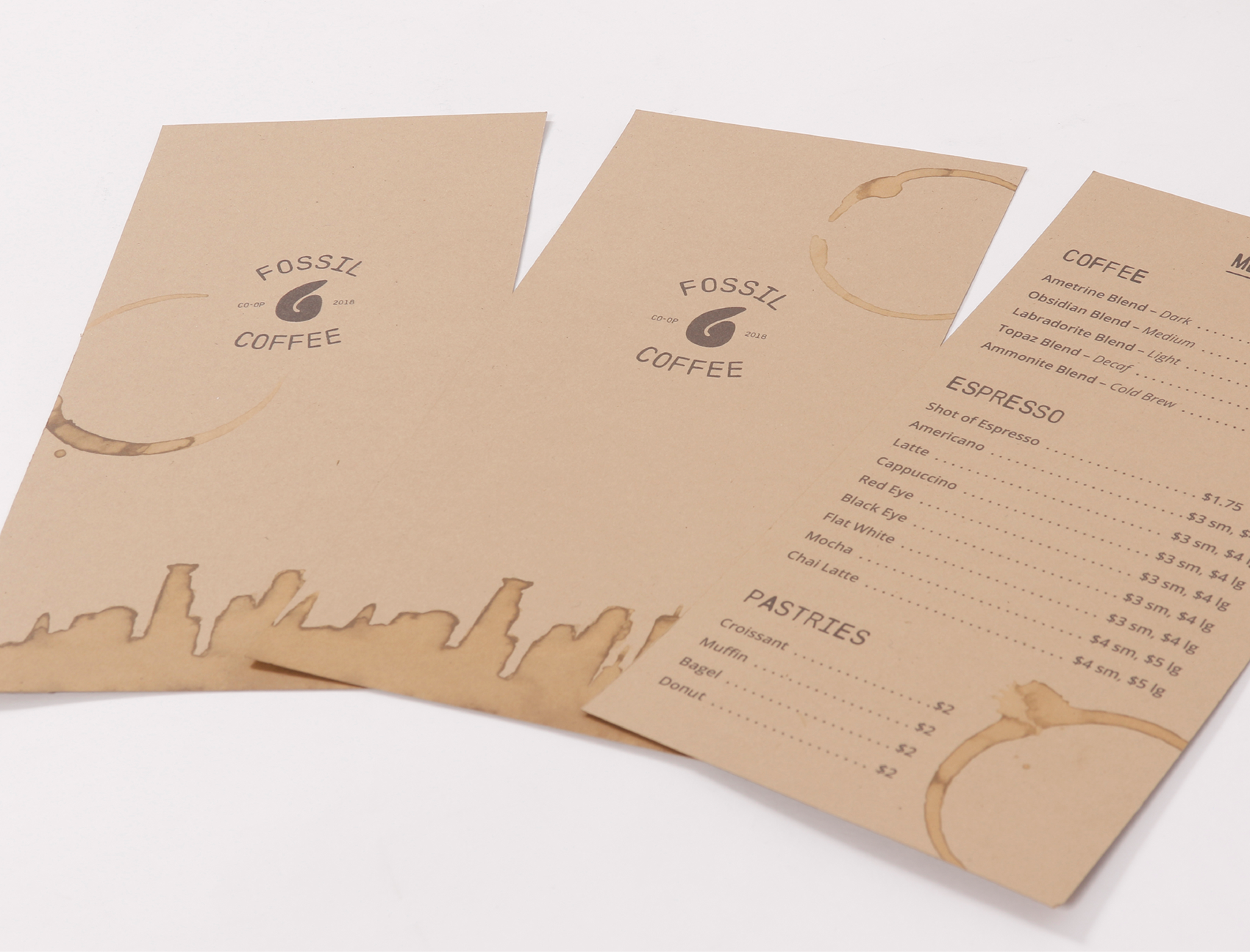 image of fossil coffee menus