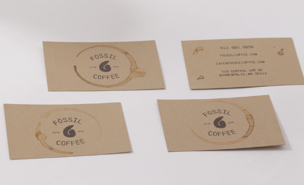 image of fossil coffee business cards